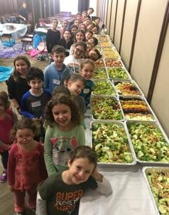 TBJ Family Tikkun Olam program with 21 familes created huge amount of food this morning!