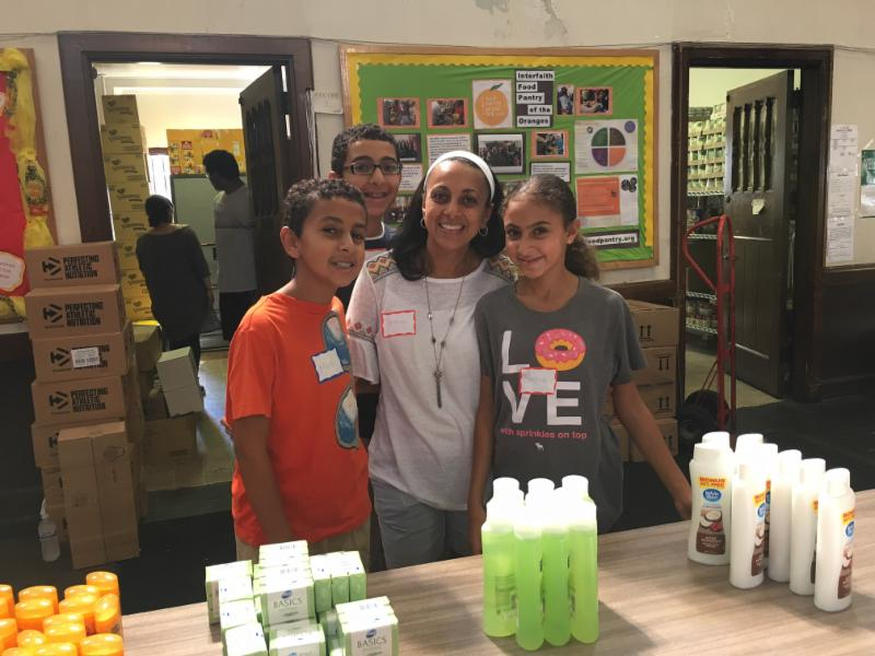 Newcomers handing out toiletries