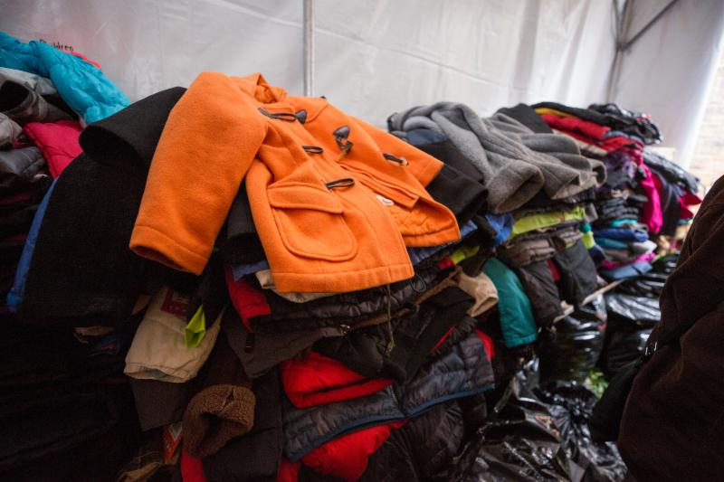 Coats in a giant pile