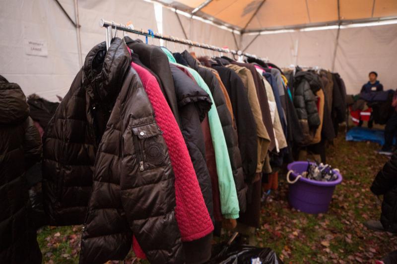 coats on racks