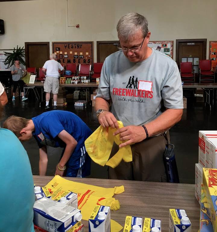 Freewalkers help assemble summer HungerBuster bags