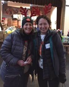 Diane Stein and Jodi Cooperman at Xmas distribution