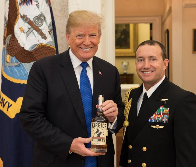 Steamboat Whiskey Company gives Warrior Whiskey bottle 45 to 45th president_ Donald Trump