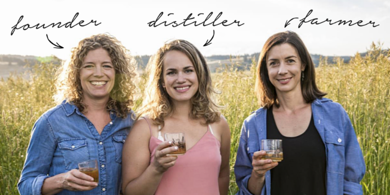Freeland Spirits Founder Jill Kuehler_ Master Distiller Molly Troupe_ and Farmer Cory Carman