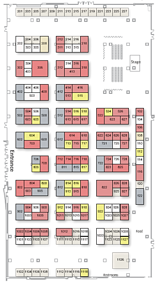 2018 ADI Vendor Expo floor plan as of 22 January 2018