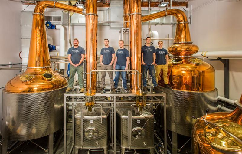 Loch _ Union Distillery team on their stills.