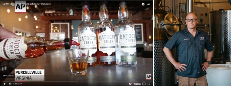 Catoctin Creek bottles at left_ Co-Founder_ Scott Harris_ at right.