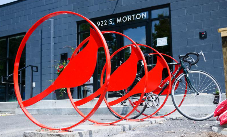 Bike rack at Cardinal Spirits distillery