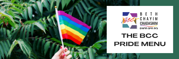 A white hand with red nail polish holding a pride flag in front of some palm fronds. The BCC logo is offset with the text beneath it reading: THE BCC PRIDE MENU