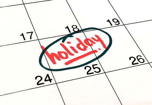 Marked and written holiday in a calendar to remind you an important appointment.