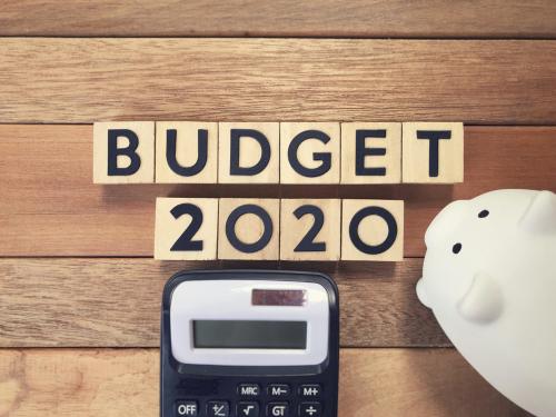 New Year budget concept - BUDGET 2020 written on wooden blocks.