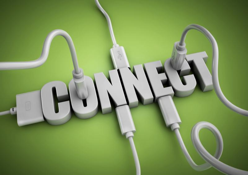 Computer cables and plugs attach to 3d text title Connect. Concept for connecting people and things via the internet and social media.