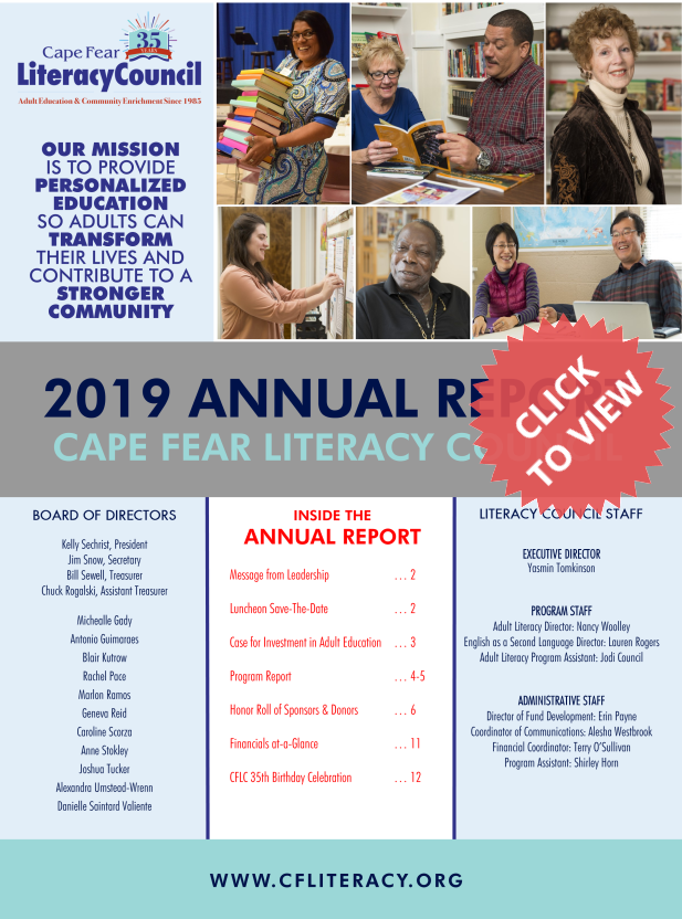 Cover of CFLC's Annual Report for 2019. Please click to view entire report.