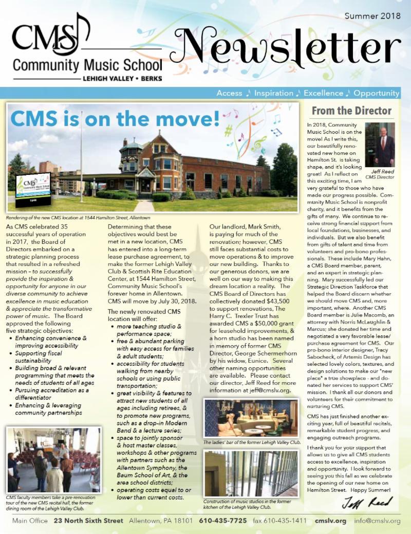 CMS 2018 Summer Newsletter Cover