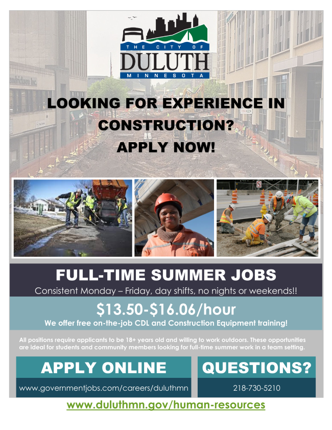 City of Duluth Summer Jobs flyer