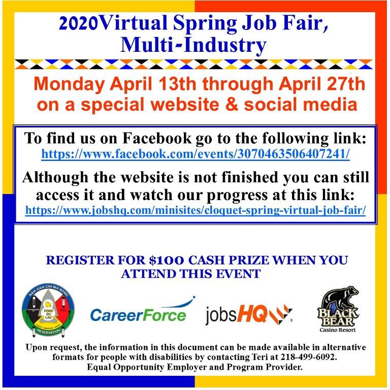 2020 Virtual Spring Job Fair flyer