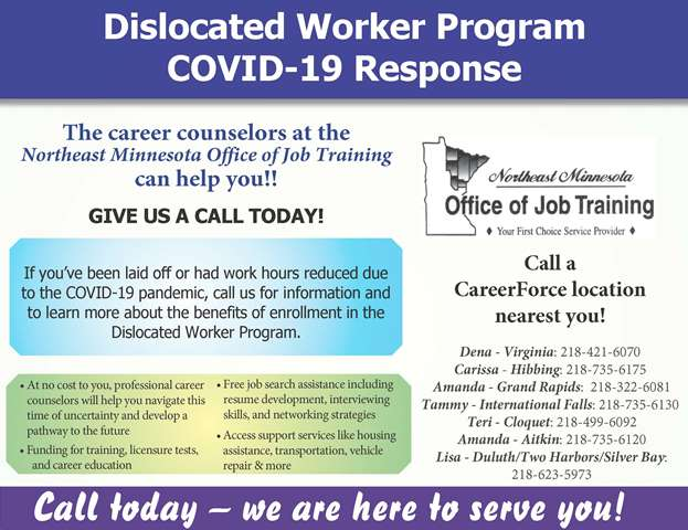 Dislocated Worker Program and COVID-19 flyer