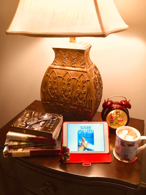 Picture of what's on my nightstand for reading