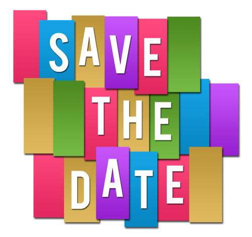 Save the date text written over colorful background.