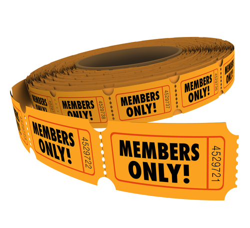 Members Only words on tickets on a roll of event_ party or invitation for VIP group associate or customer access or entry