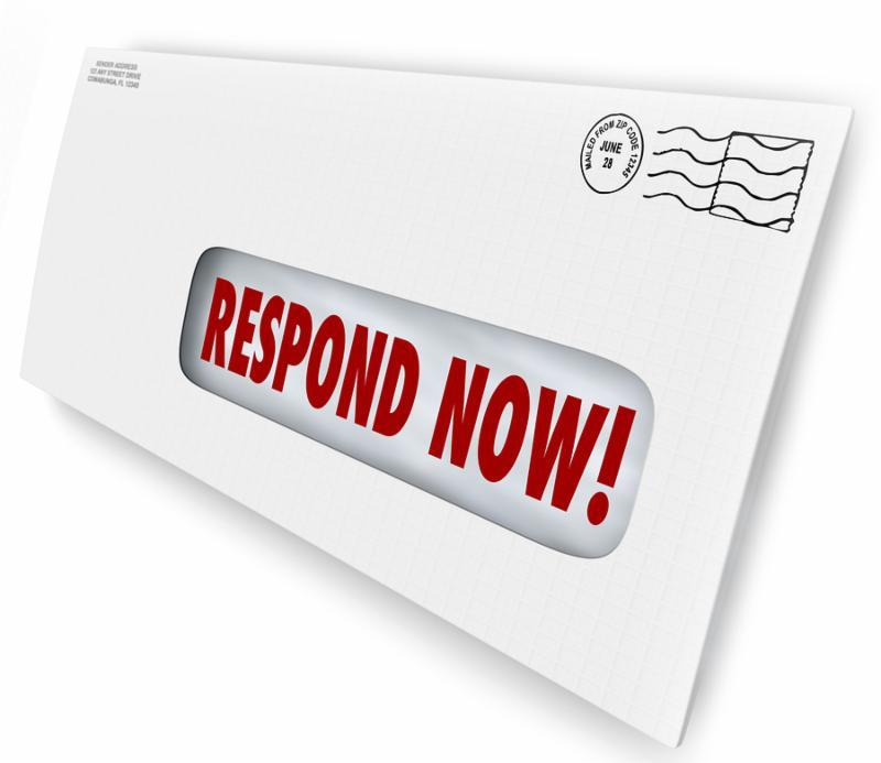 Respond Now words in a window envelope mailer needing immediate reply