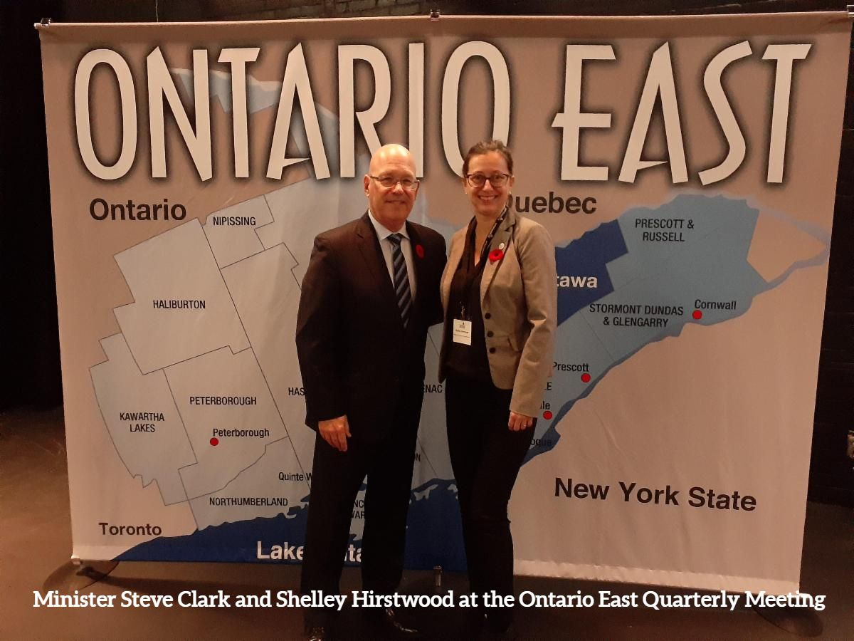 Minister Steve Clark and Shelley Hirstwood at the Ontario East Quarterly Meeting