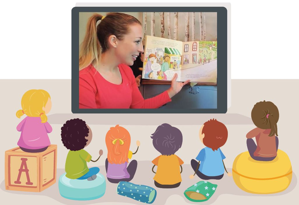Graphic image of children watch Shannon read a story