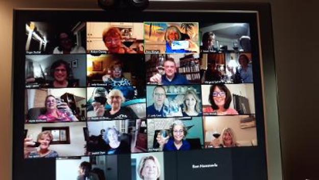 screen shot of OLLI virtual wine-tasting social held Mar 2021