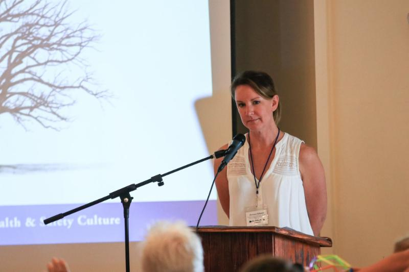 Photo of Annmarie McMahill presenting