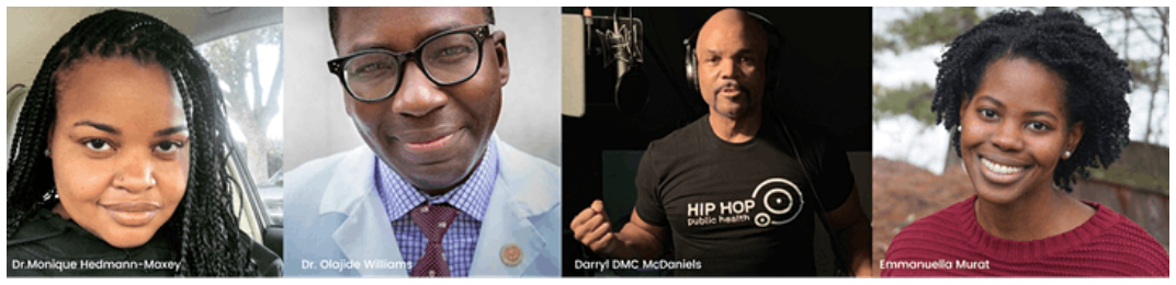 Photo strip of panelists for Weekend Wellness: Self-Care for Communities and Families event. From left to right: Dr. Monique Hedmann-Maxey, Dr. Olajide Williams, Darryl DMC McDaniels, and Emmanuella Murat.