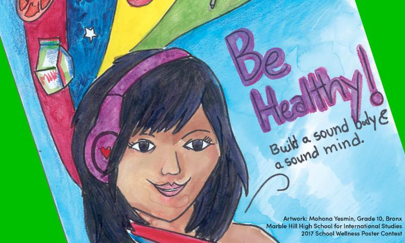 This is an image of a drawing created by a student. It shows a young person listening to headphones. Next to the young person is the phrase: Be Healthy! Build a sound body and sound mind.
