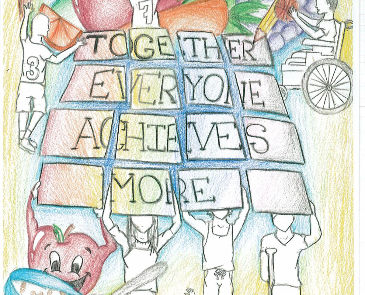 This is an image of a drawing that shows students holding signs that spell out, Together Everyone Achieves More. There students of all abilities included in the drawing and an apple with a smile in front of a bowl of cereal. This was created by a student.