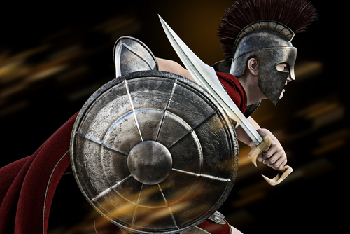 Spartan charge _Spartan warrior in Battle dress attacking . Photo realistic 3d model scene.
