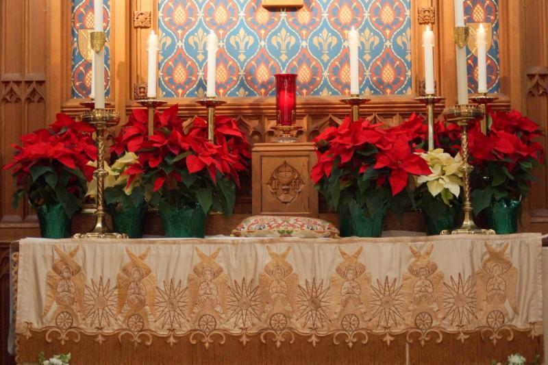 Christmas Altar with Poinsettias 2017