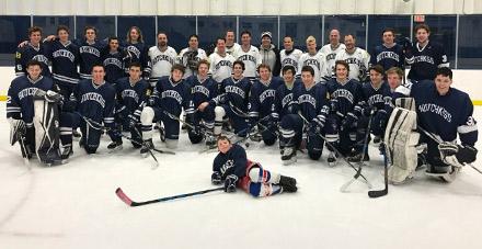 Members of the 1992 New England championship boys hockey team