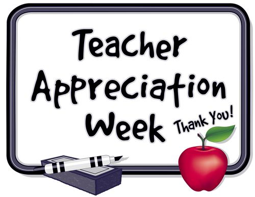 Teacher Appreciation Week. Held each year in United States during first week of May_ to honor teacher contributions. Thank you on whiteboard_ red apple_ marker pen_ eraser.