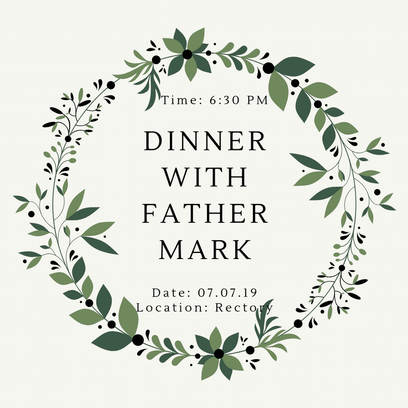 dinner with fr. mark