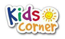The words Kids Corner written in different colors with a sun shining in the upper right corner.