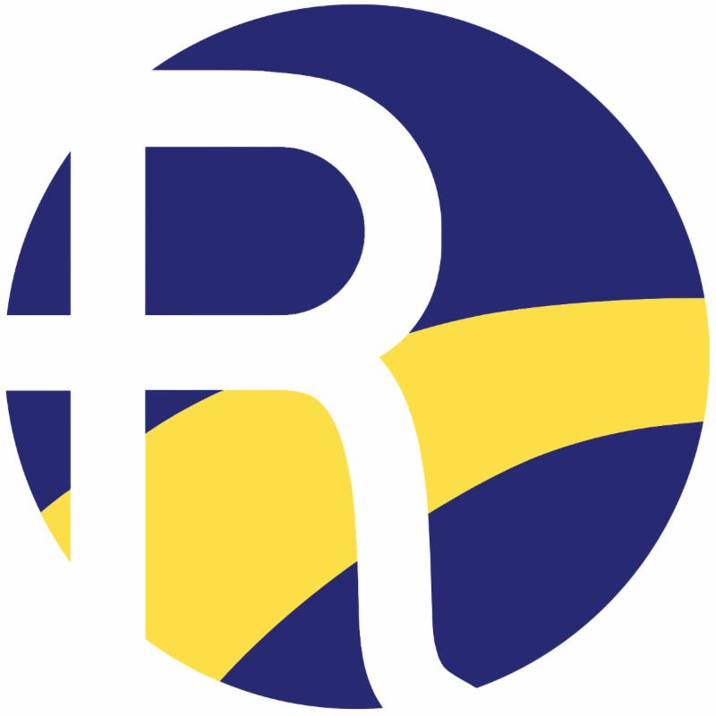 Roxbury R in while in a navy blue circle with a yellow path