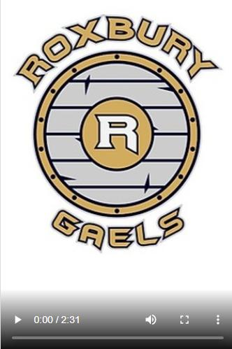 Roxbury Gaels in Gold Letter with a gold and gray shield with the Roxbury R in the middle.