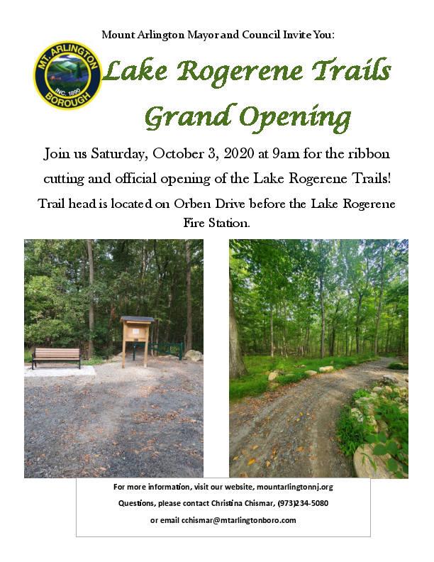 Lake Rogerene Trails Grand Opening event flyer.