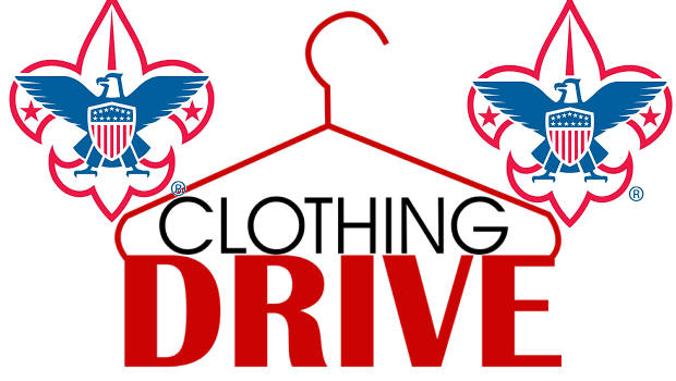 Boy scout logo on either side of a hanger that say clothing drive underneath
