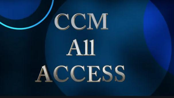 Various shades of blue circles. CCM All Access written in Gold.