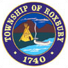 Roxbury Township logo in a circle. Teepee and canoe along water with a mountain in the background.