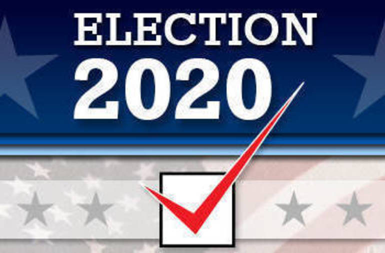 Election 2020 with transparent stars/stripes in the background with a red check in a box.
