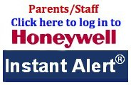 Print in red, white, and blue that says Parent/Staff Click here to log in to Honeywell Instant Alert.