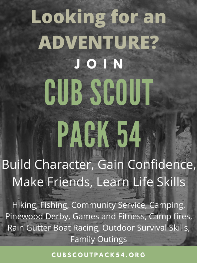 Cub scout pack 54 recruiting flyer with tree line in the background.