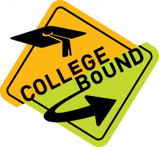 A yellow street sign that says College Bound with a graduation cap and an arrow.