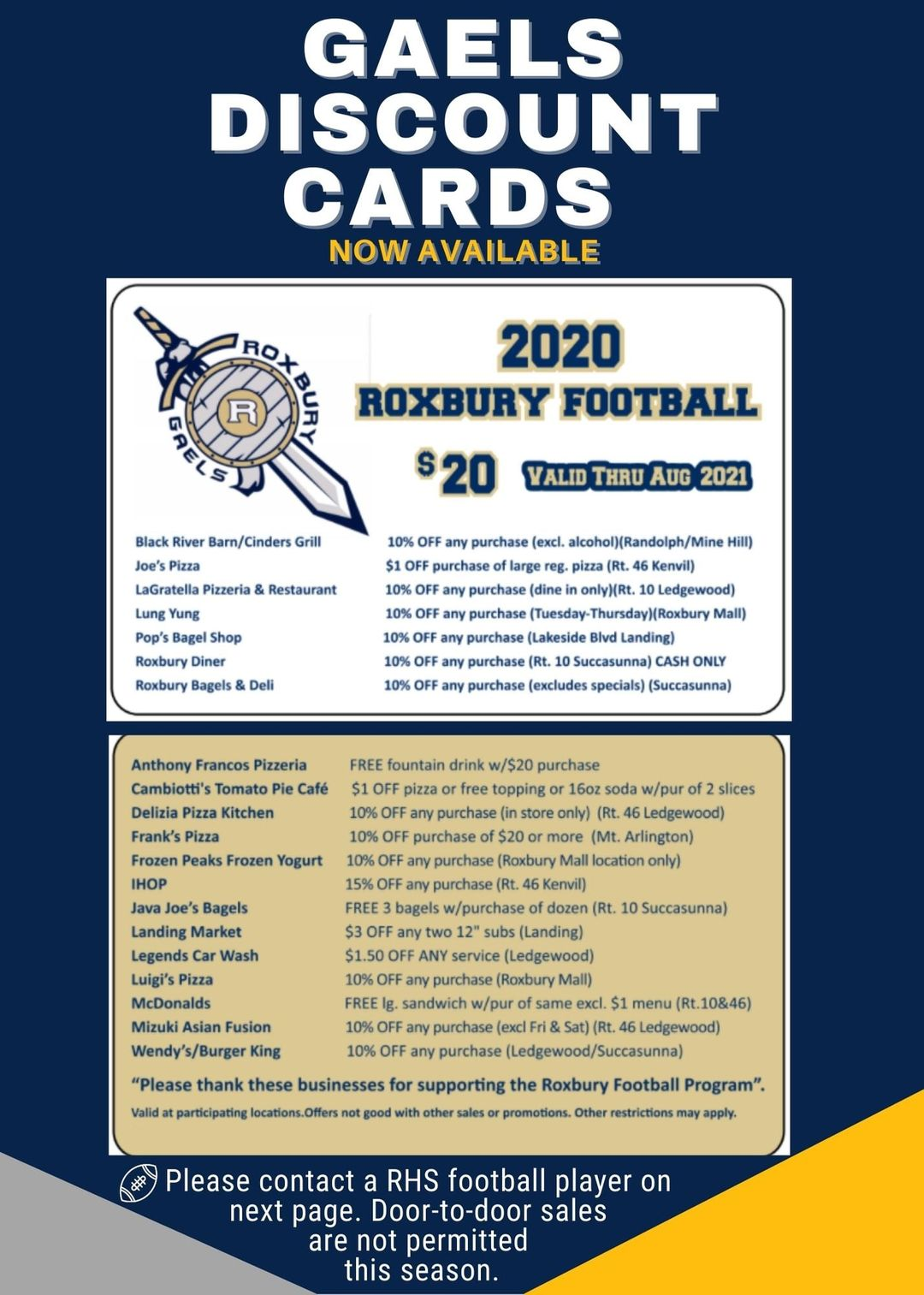 Gaels Discount Cards for 2020. On sale for $20 and good thru August 2021. It lists about 20 local food places and the discounts they offer.