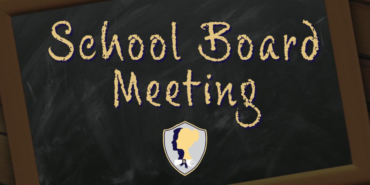 School Board Meeting written on a black chalkboard with the Roxbury portrait of a graduate logo in the bottom center.